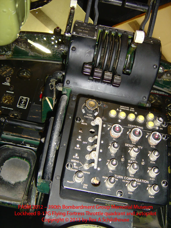 Lockheed B-17G Flying Fortress throttle quadrant and autopilot